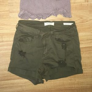 PacSun green distressed shorts
